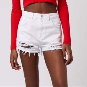 Top Shop Distressed White Mom Moto Shorts